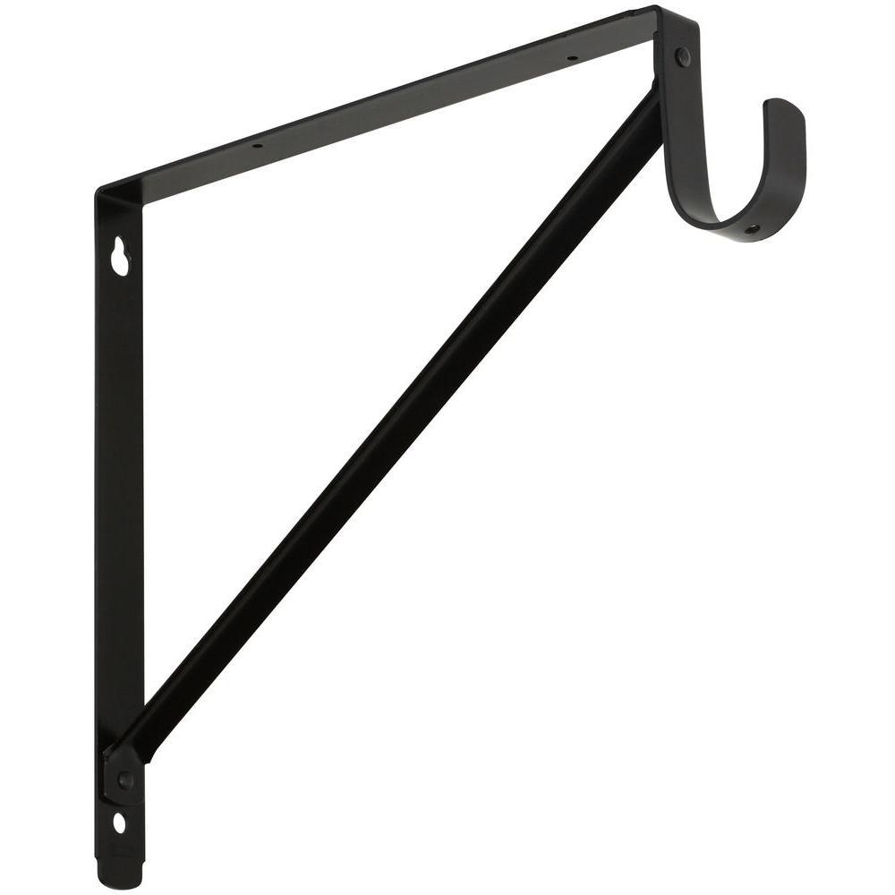Stanley-National Hardware 11 in. x 12-5/8 in. Shelf Hanging Rod Bracket in Oil-Rubbed Bronze