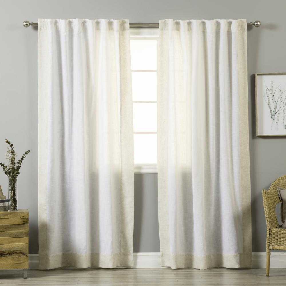 84 In. L White Linen Blend FlaxBordered Curtain Panel (2