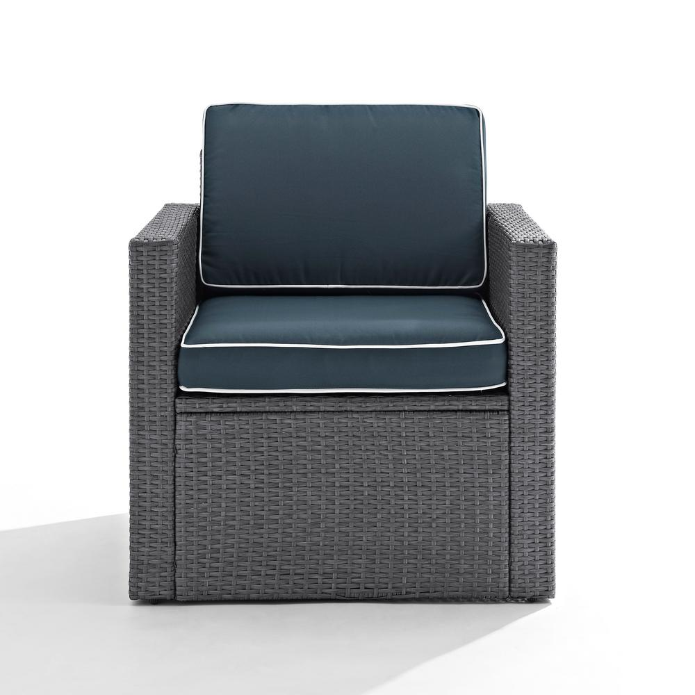 Crosley Palm Harbor Wicker Outdoor Lounge Chair with Navy...