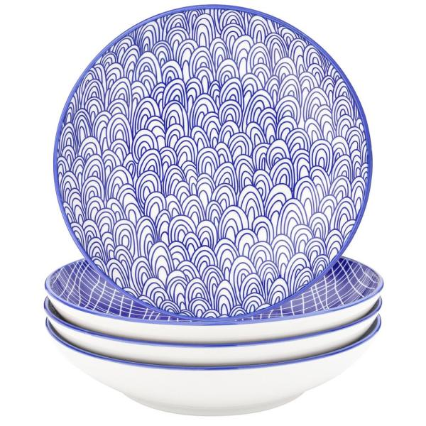 TAKAKI 10.6 in. 4-Pieces Japanese Style Multi-Colour Porcelain Soup Plate Set Soup Plate (Set of 4)