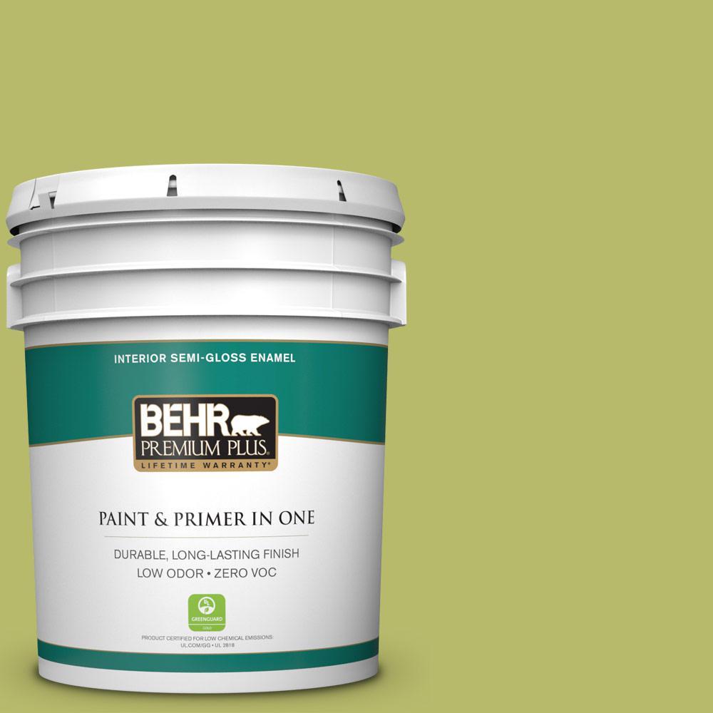 BEHR Premium Plus 5-gal. #P360-5 Citrus Peel Semi-Gloss Enamel Interior Paint
