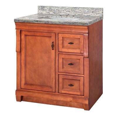 Naples 31 in. W x 22 in. D Vanity in Warm Cinnamon with Granite Vanity Top in Santa Cecilia with White Sink