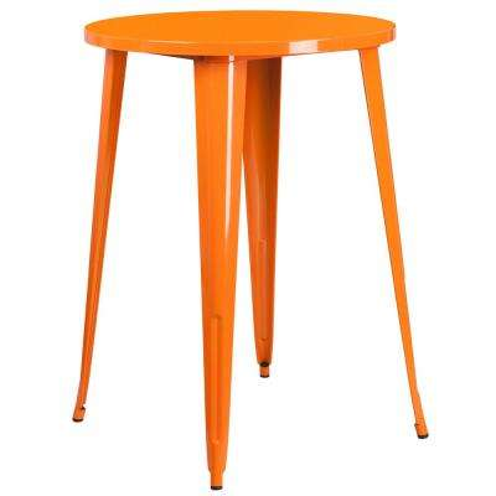 Orange Round Metal Outdoor Bistro Table
