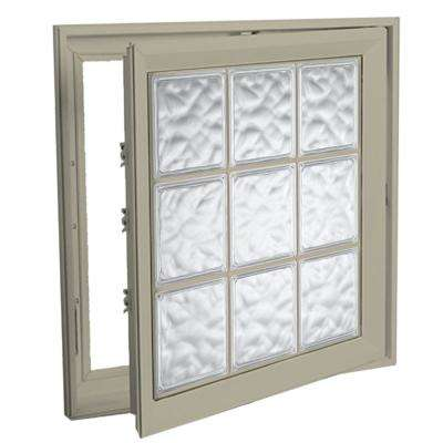 29 in. x 29 in. Right-Hand Acrylic Block Casement Vinyl Window with Tan Interior and Exterior