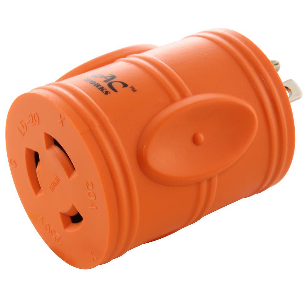 Locking Adapter 6-20P 20 Amp 250-Volt Male Plug to L6-20R 20 Amp Locking Female Connector