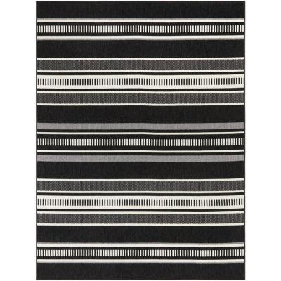 Multi Stripes Black/White 5 ft. x 7 ft. Striped Indoor/Outdoor Area Rug