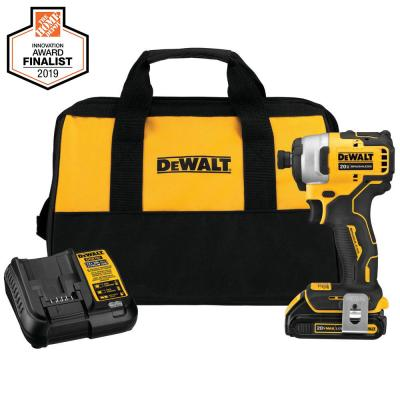 ATOMIC 20-Volt MAX Lithium-Ion Brushless Cordless Compact 1/4 in. Impact Driver w/ (1) Battery 1.3Ah, Charger & Tool Bag