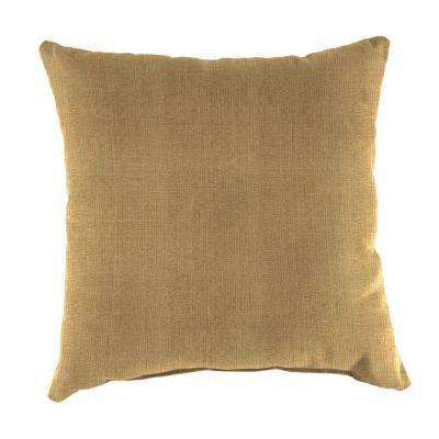 Sunbrella Linen Straw Square Outdoor Throw Pillow