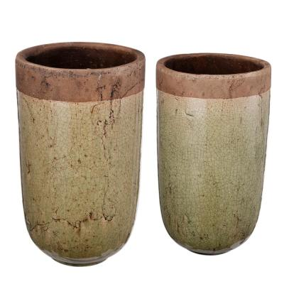 Candia Green/Brown 2-Tone Earthen Vases (Set of 2)