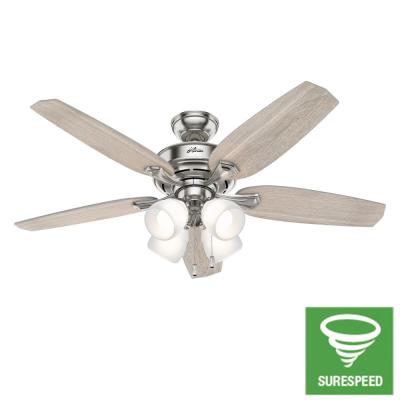 Fossett 52 in. LED Indoor Brushed Nickel Ceiling Fan with Light