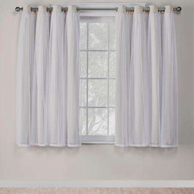 Catarina 52 in. W x 63 in. L Layered Sheer Blackout Grommet Top Curtain Panel in Sand (2 Panels)