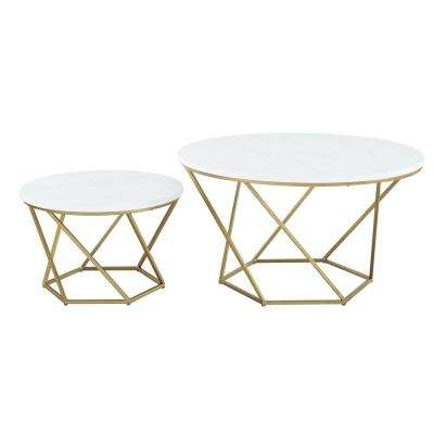 Geometric White Marble/Gold Nesting Coffee Tables