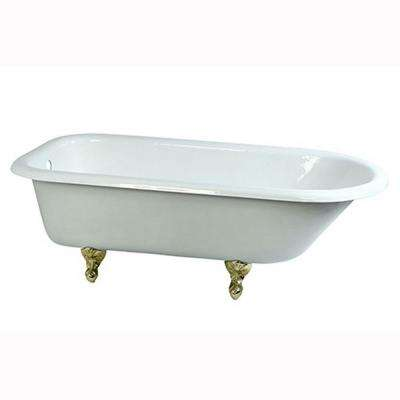 5.6 ft. Cast Iron Polished Brass Claw Foot Roll Top Tub in White
