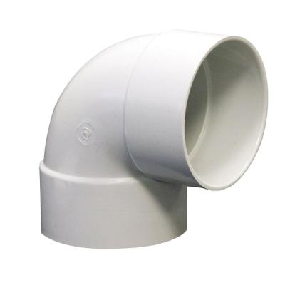 6 in. PVC Sewer and Drain 90-Degree Hub x Hub Elbow