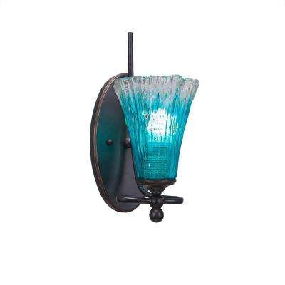 1-Light Dark Granite Sconce with Teal Ribbed Glass