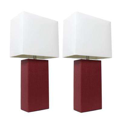 21 in. Modern Red Leather Table Lamps with White Fabric Shades (2-Pack)