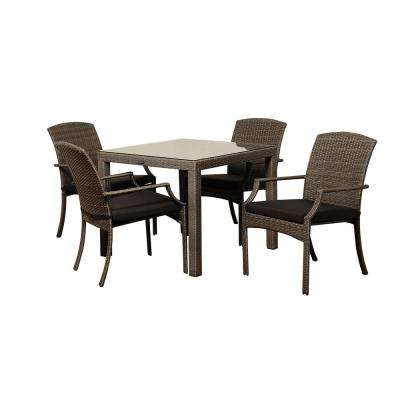 Rolland 5-Piece Wicker Outdoor Dining Set with Grey Cushions