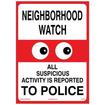 10 in. x 14 in. Neighborhood Watch Sign Printed on More Durable Longer-Lasting Thicker Styrene Plastic.