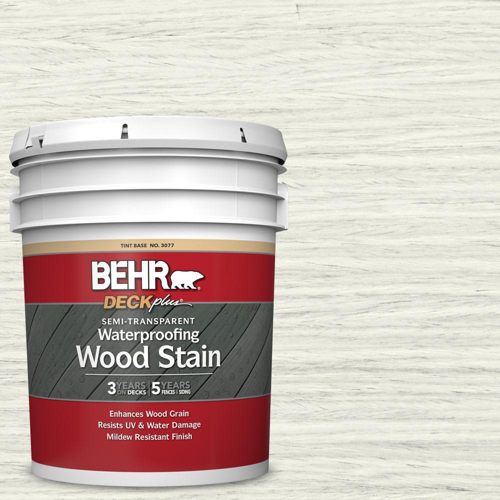 BEHR DECKplus 5 gal. #ST-337 Pinto White Semi-Transparent Waterproofing Exterior Wood Stain
