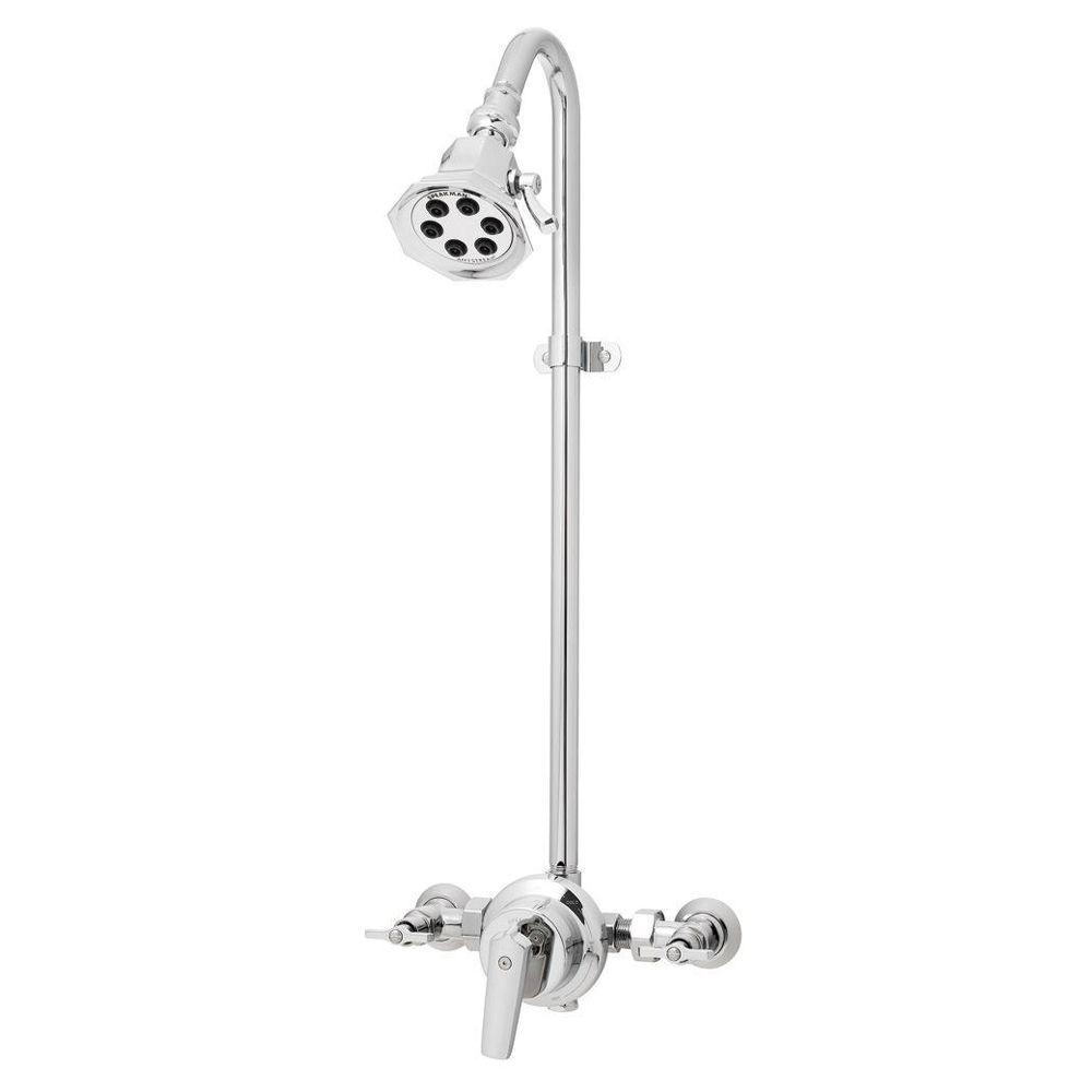 Anystream Vintage 3-Spray Wall Bar Shower Kit in Polished Chrome (Valve