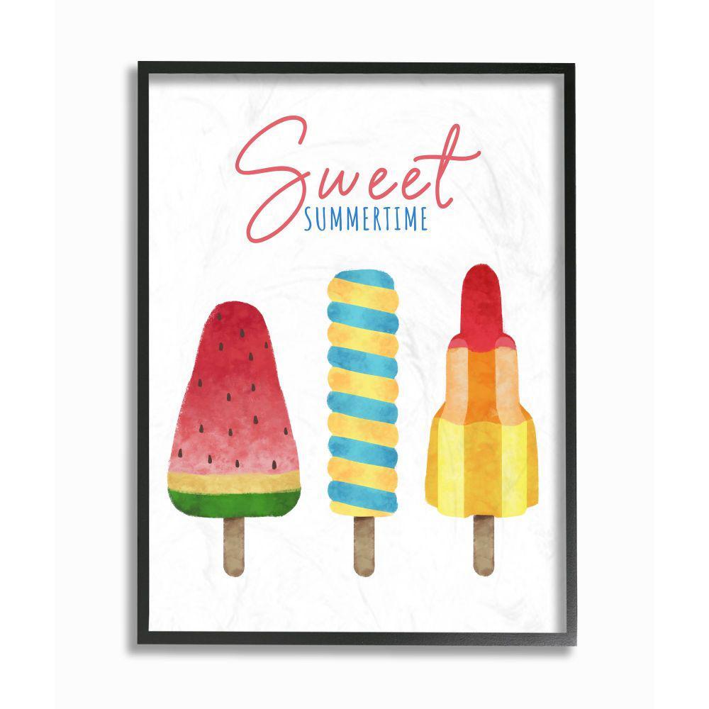 "Stupell Industries ""Sweet Summertime Ice Creams Kids Nursery Design""by Ziwei Li Framed Abstract Wall Art 30 in. x..."