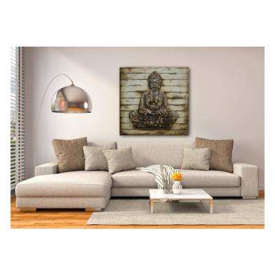 "39 in. x 39 in. ""Zen Pose"" Metal on Wood Wall Art"