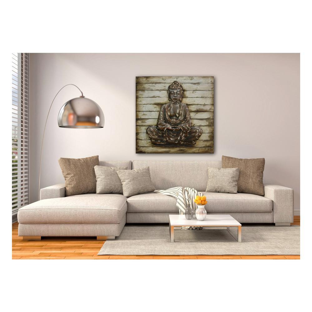 "39 in. x 39 in. ""Zen Pose"" Metal on Wood Wall Art"