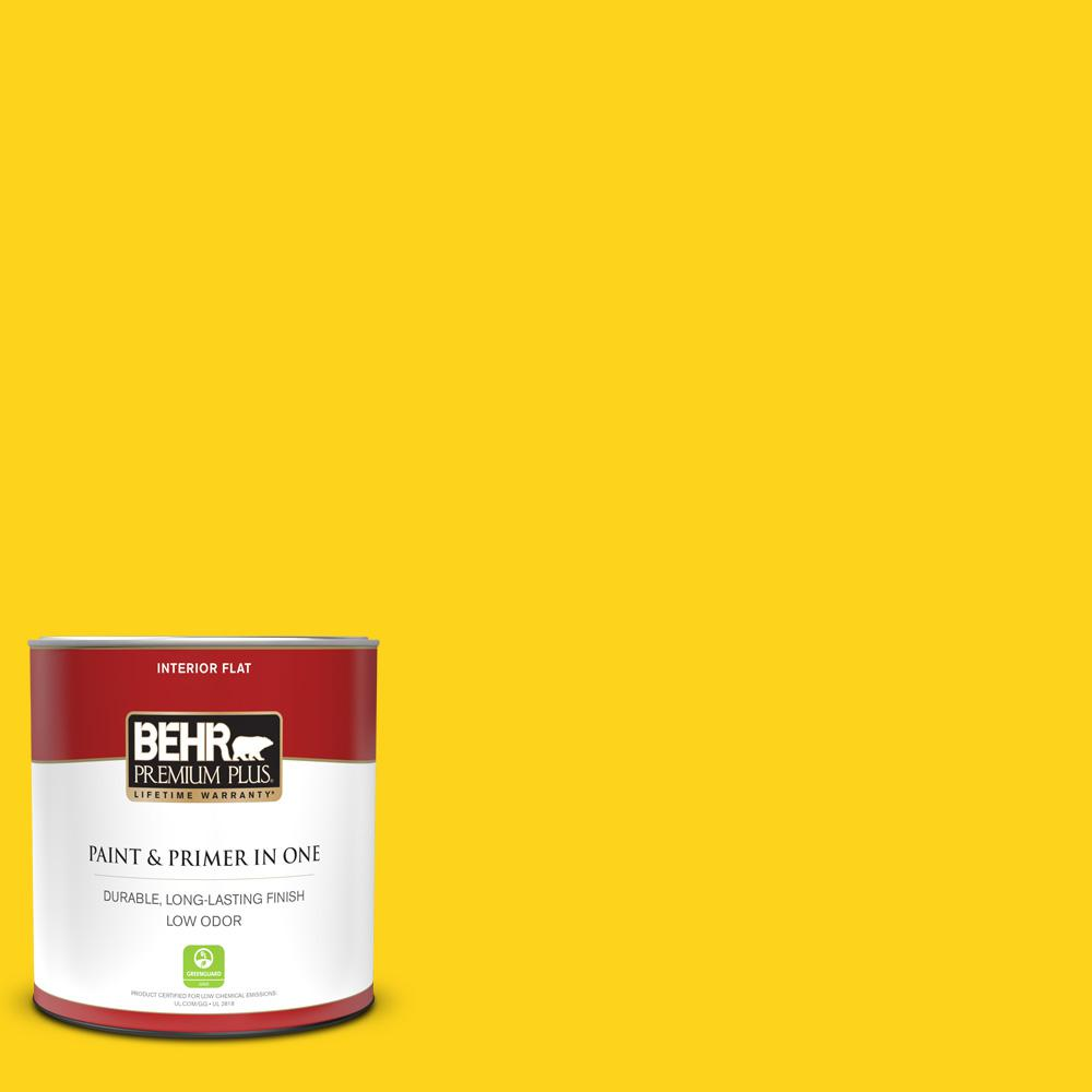 Behr Premium Plus 1 Qt S G 390 Lemon Zest Flat Low Odor