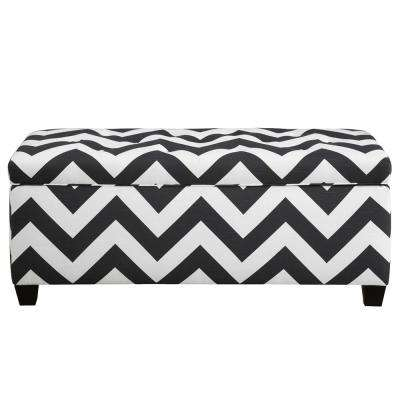 Sean Zip Charcoal 10-Button Tufted Upholstered Large Storage Bench