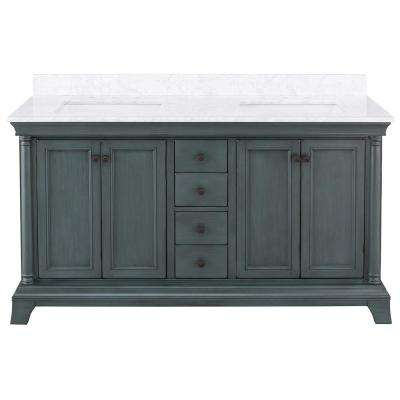 Strousse 61 in. W x 22 in. D Vanity Cabinet in Distressed Blue Fog with Marble Vanity Top in Carrara White with Sink
