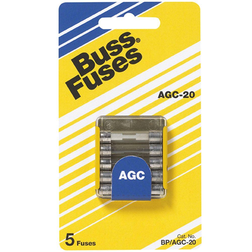 Cooper Bussmann Agc Series 20 Amp Silver Glass Tube Fuses 5 Pack Home Fuse Box