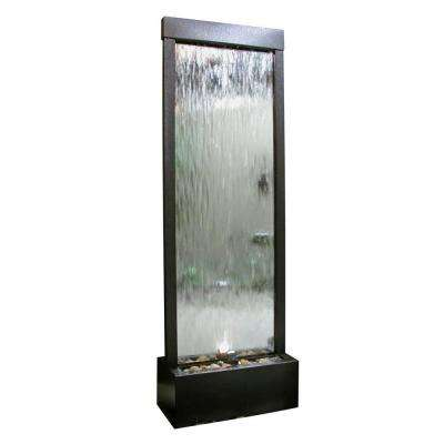 Mirror Waterfall-Silver with Decorative Stones and Light