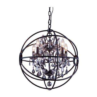 Geneva 5-Light Dark Bronze Chandelier with Silver Shade Grey Crystal