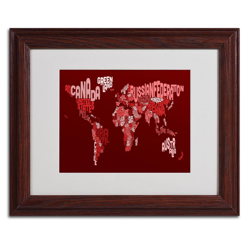 11 in. x 14 in. World Text Map 3 Matted Framed