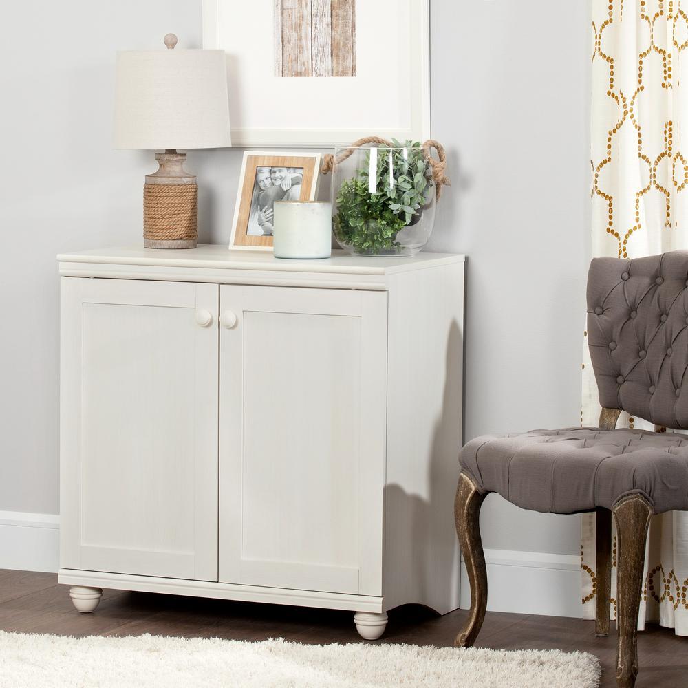 Hopedale White Wash 2-Door Storage Cabinet