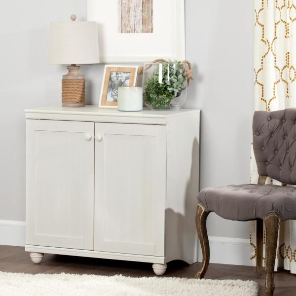 South Shore Hopedale White Wash 2-Door Storage Cabinet
