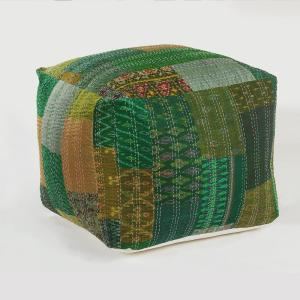 Admirable Kantha Patchwork Green Handmade Foliage Pouf Ottoman Caraccident5 Cool Chair Designs And Ideas Caraccident5Info