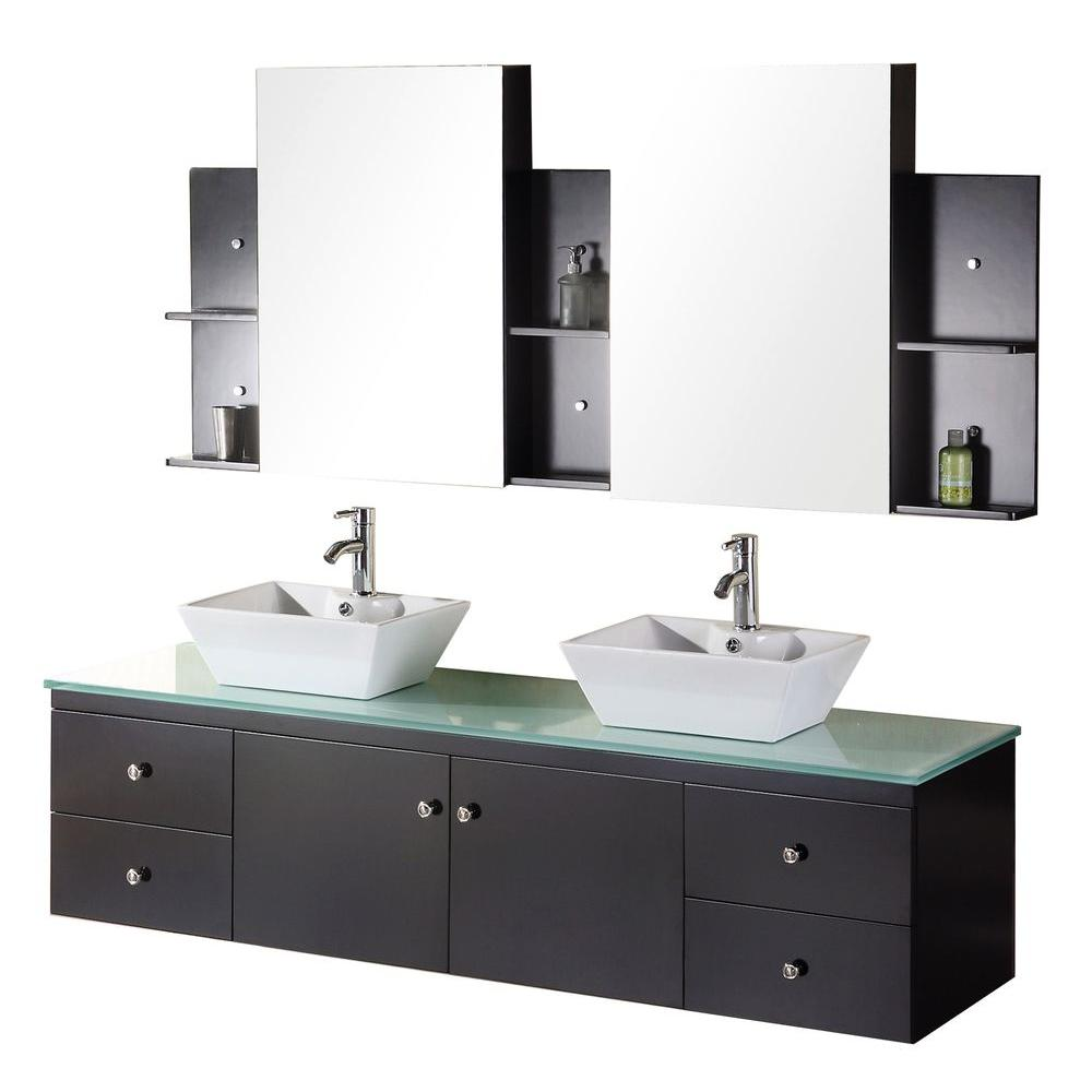 Design Element Portland 72 in. W x 22 in. D Vanity in Espresso with Glass Vanity Top and Mirror in Mint