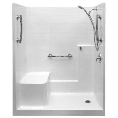 Ultimate-SA 36 in. x 60 in. x 77 in. 1-Piece Low Threshold Shower Stall in White, Shower Kit, Molded Seat, Right Drain