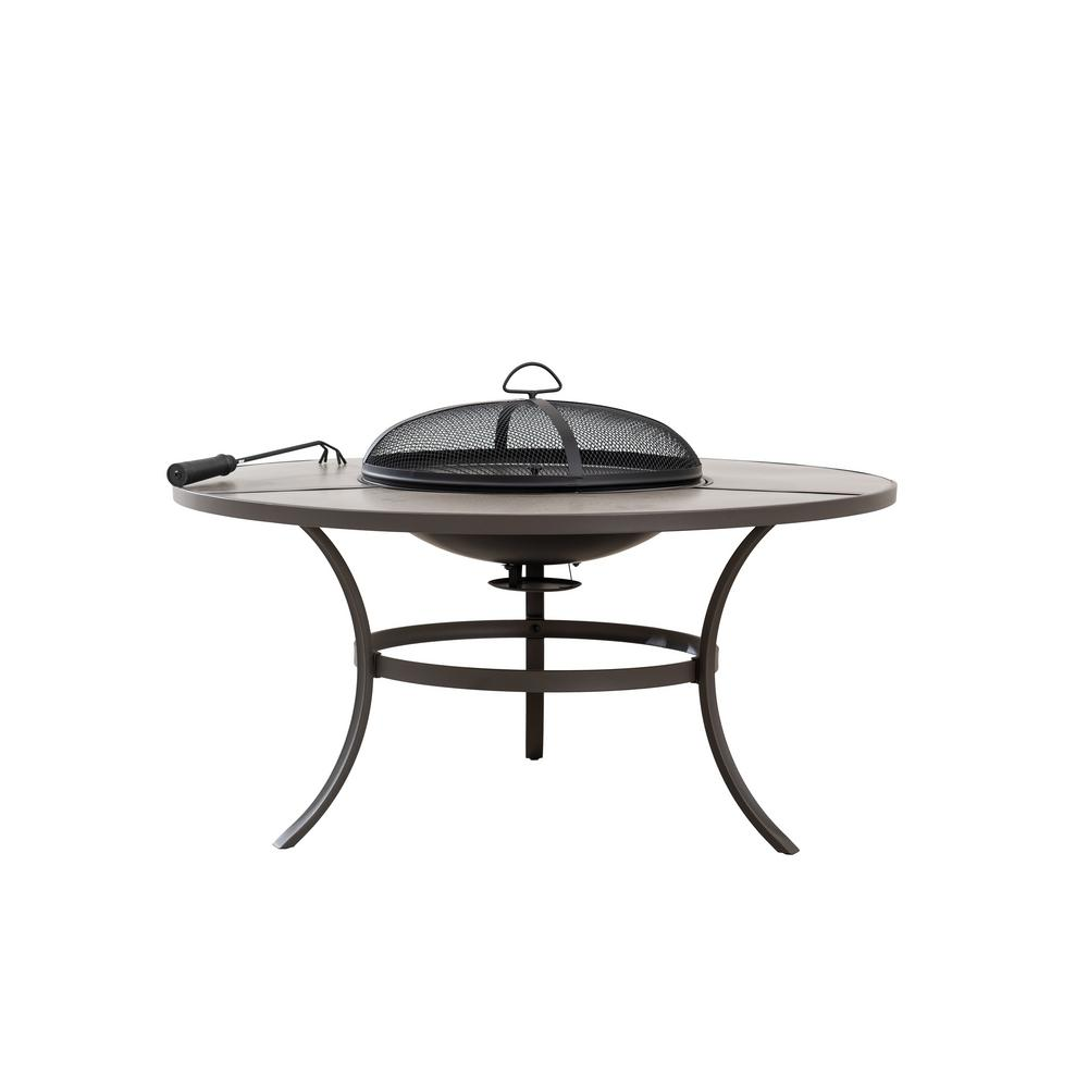 Hampton Bay 42 in. Round Steel Wood Burning Fire Pit Table in Brown