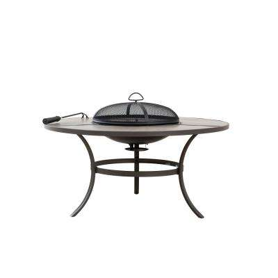 42 in. Round Steel Wood Burning Fire Pit Table in Brown