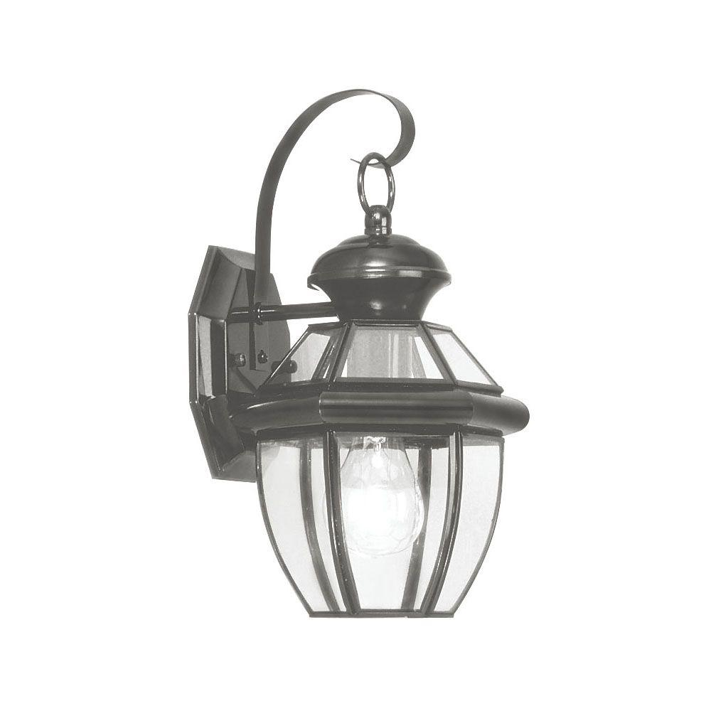 Livex Lighting 1-Light Outdoor Black Wall Lantern with Clear Flat Glass
