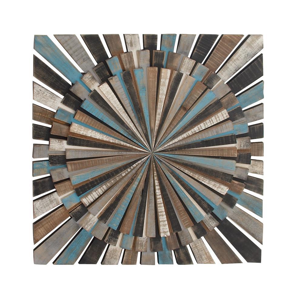 36 in. x 36 in. Wooden Slat-Type Color Wheel Wall Decor