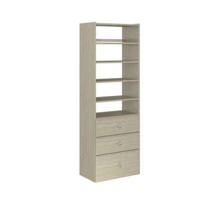 14 in. D x 25.125 in. W x 72 in. H Rustic Grey Wood Premier Tower Closet Kit