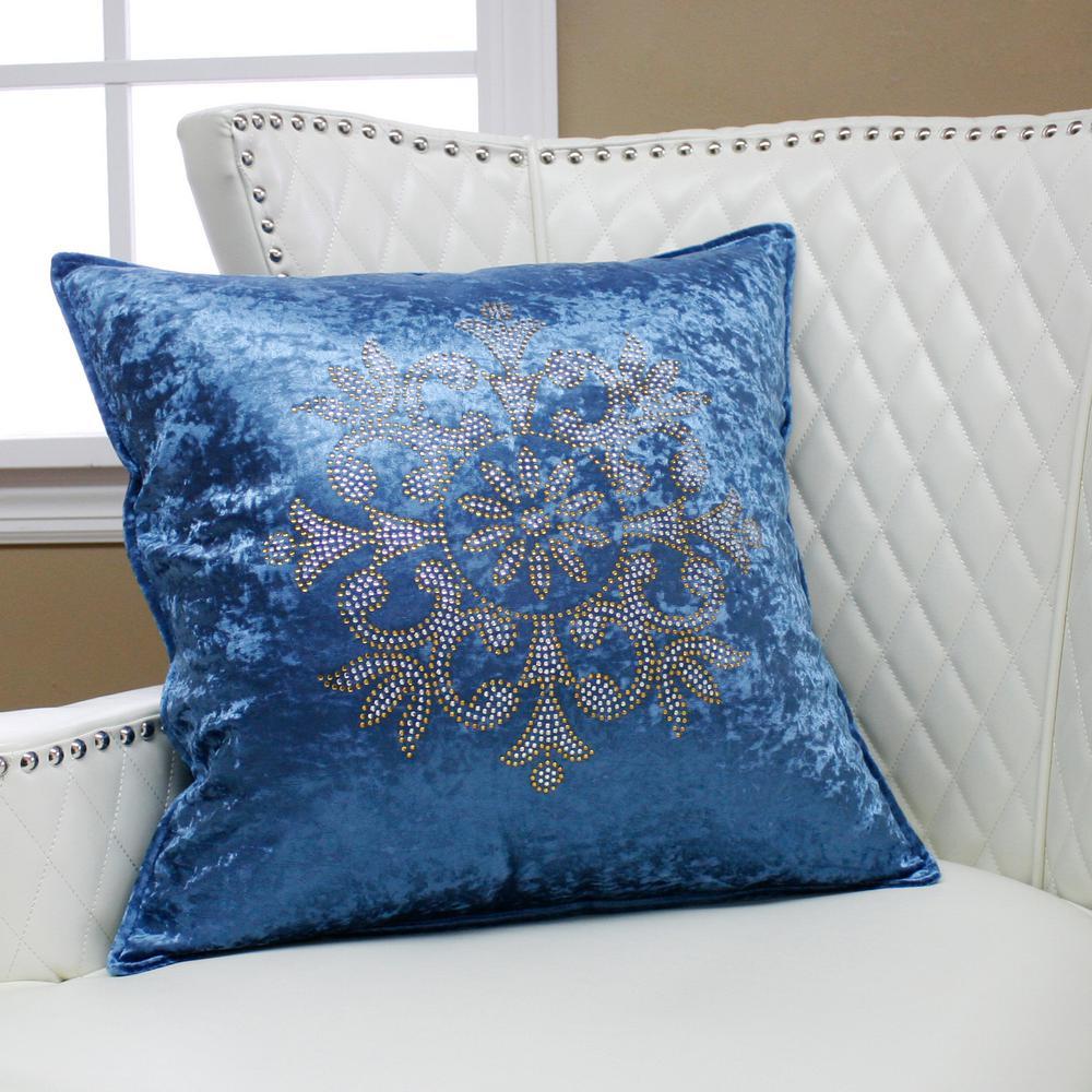 Snowflake Rhinestone Blue Stud Pillow