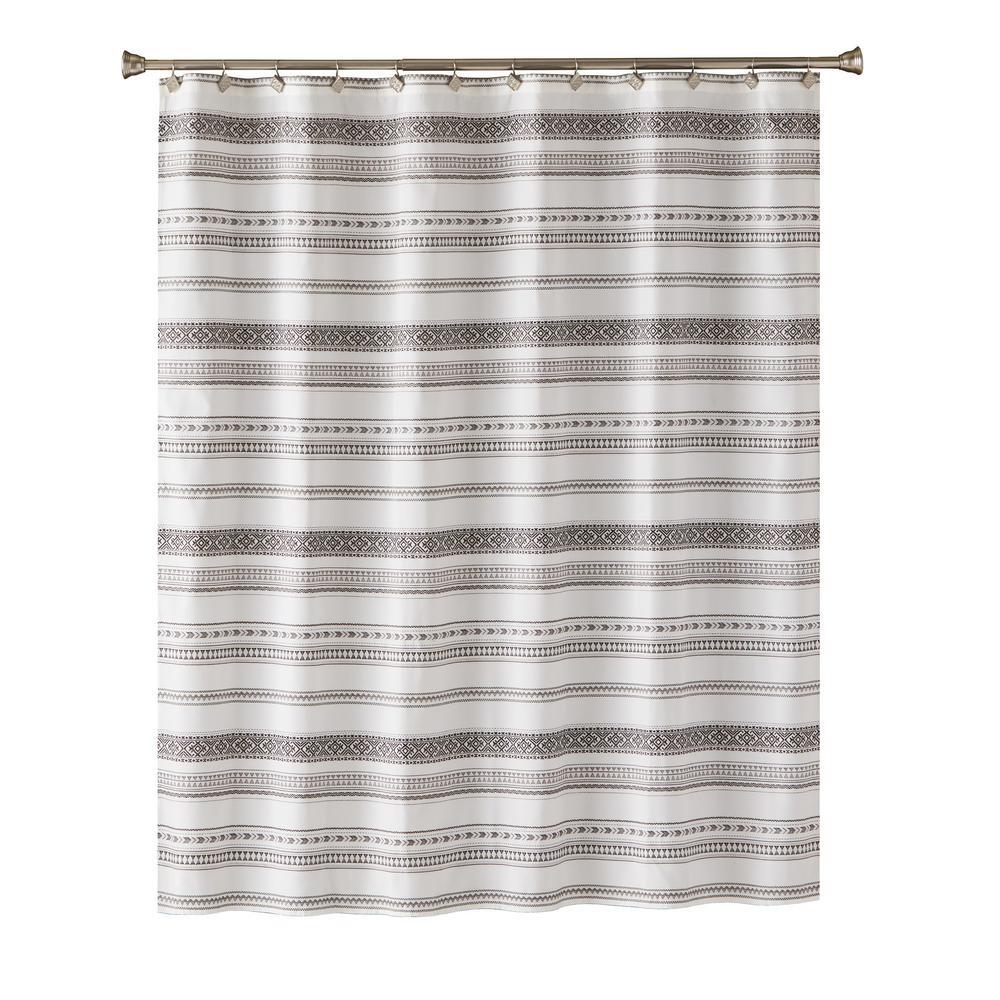 Geo Stripe 72 in. Shower Curtain In Black