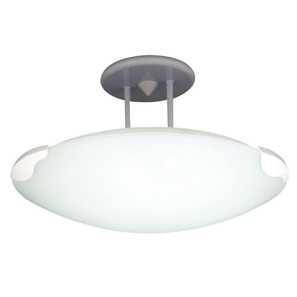 PLC Lighting 1-Light Semi-Flush Mount Ceiling-Light White Finish Acid Frost Glass