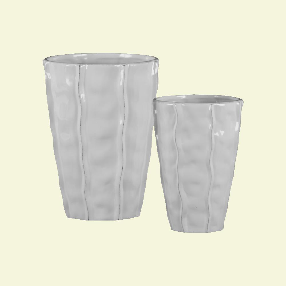 White Gloss Finish Ceramic Decorative Vase (Set of 2)