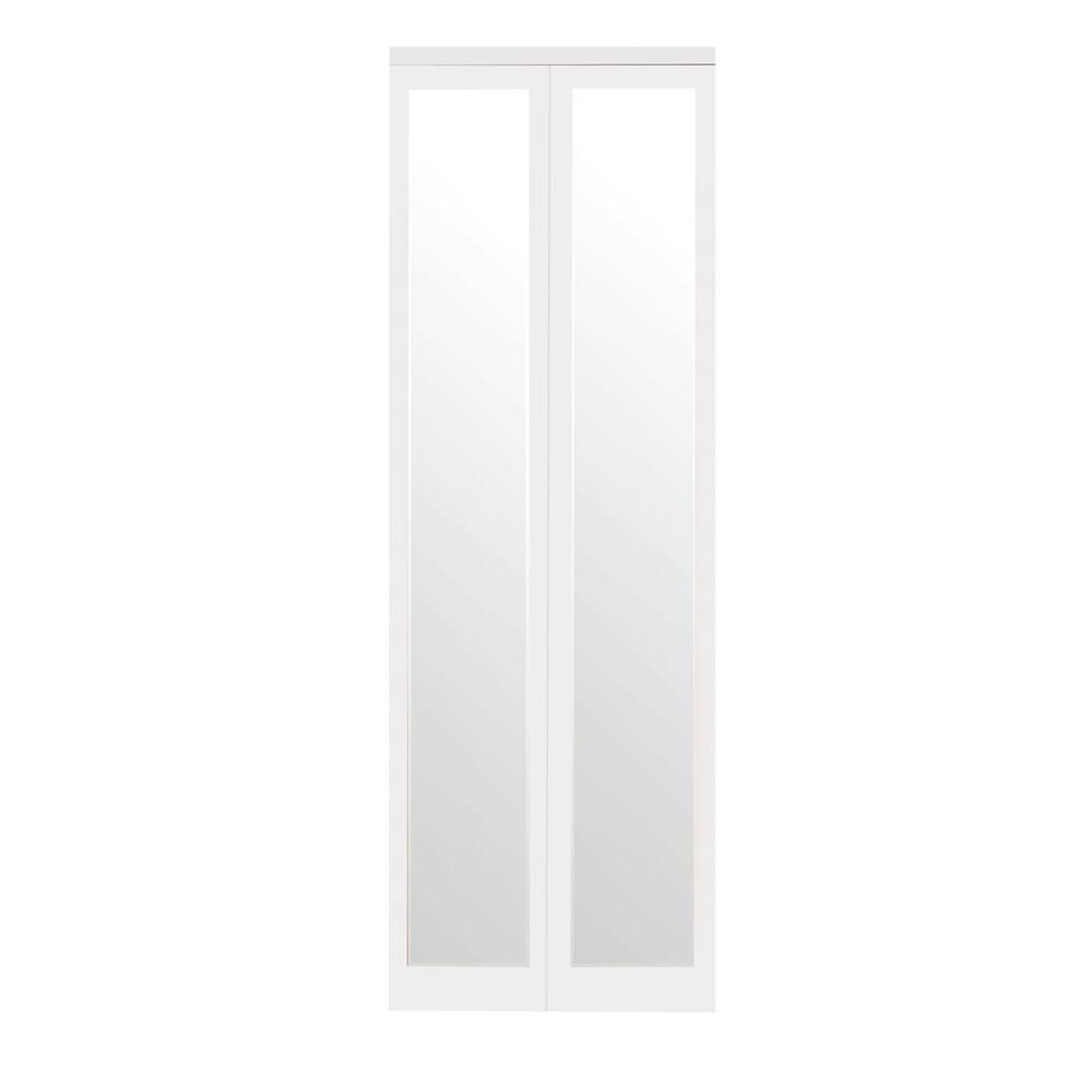 Impact Plus 24 in. x 80 in. Mir-Mel Mirror Solid Core Primed MDF Interior Closet Bi-Fold Door with White Trim