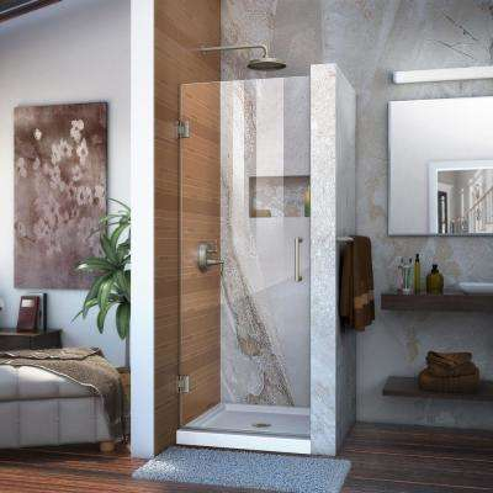 Unidoor 28 in. x 72 in. Frameless Hinged Shower Door in Brushed Nickel